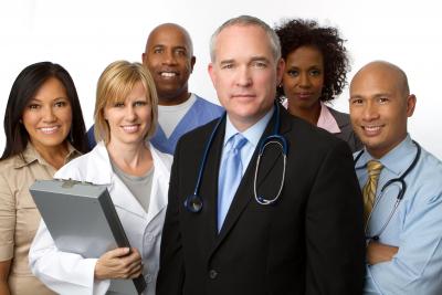 group of doctors, nurses, administrators and heath care providers